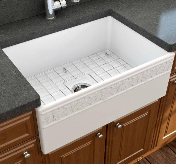 "Bocchi Vigneto 27"" Matte White Fireclay Single Bowl Farmhouse Sink w/ Grid-Annie & Oak"