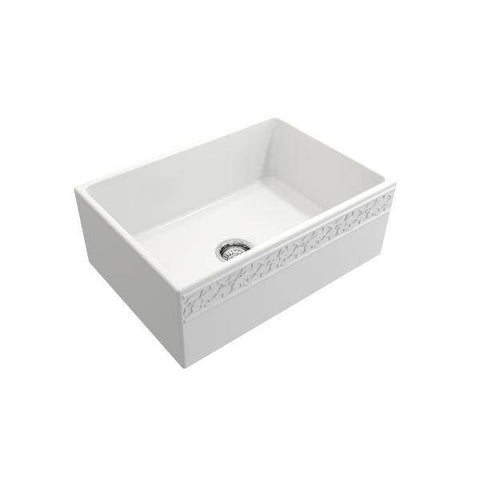 "Bocchi Vigneto 27"" Matte White Fireclay Single Bowl Farmhouse Sink w/ Grid - Annie & Oak"