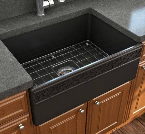 "Bocchi Vigneto 27"" Matte Black Fireclay Single Bowl Farmhouse Sink w/ Grid-Annie & Oak"