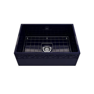 "Bocchi Vigneto 27"" Blue Fireclay Single Bowl Farmhouse Sink w/ Grid-Annie & Oak"