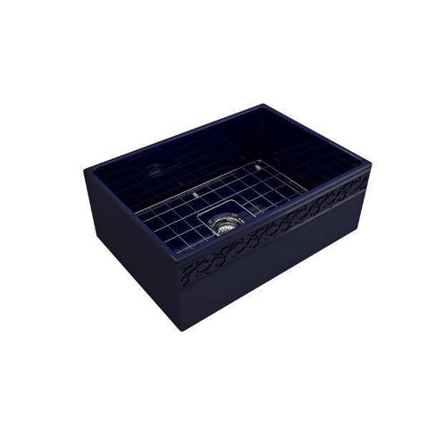 "Image of Bocchi Vigneto 27"" Blue Fireclay Single Bowl Farmhouse Sink w/ Grid-Annie & Oak"