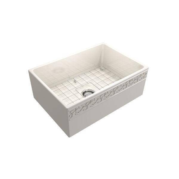 "Bocchi Vigneto 27"" Biscuit Fireclay Single Bowl Farmhouse Sink w/ Grid - Annie & Oak"