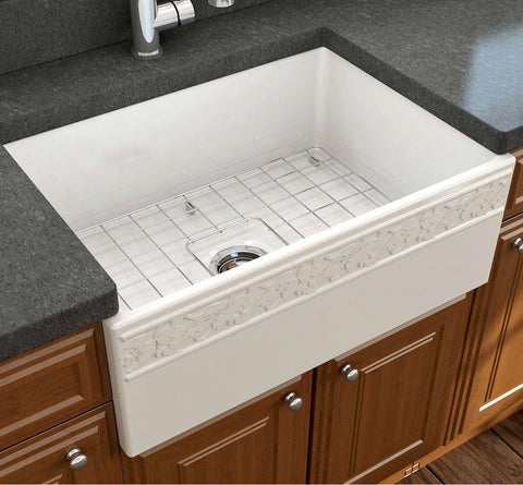 "Image of Bocchi Vigneto 27"" Biscuit Fireclay Single Bowl Farmhouse Sink w/ Grid - Annie & Oak"