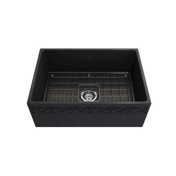 "Bocchi Vigneto 27"" Dark Gray Fireclay Single Bowl Farmhouse Sink w/ Grid-Annie & Oak"