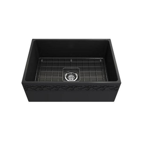 "Image of Bocchi Vigneto 27"" Dark Gray Fireclay Single Bowl Farmhouse Sink w/ Grid-Annie & Oak"