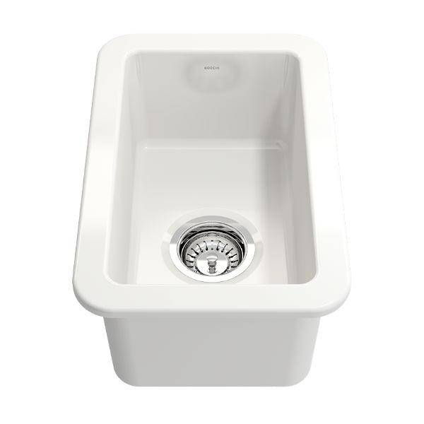 "Bocchi Sotto 12"" White Fireclay Single Bowl Undermount Prep Sink - Annie & Oak"