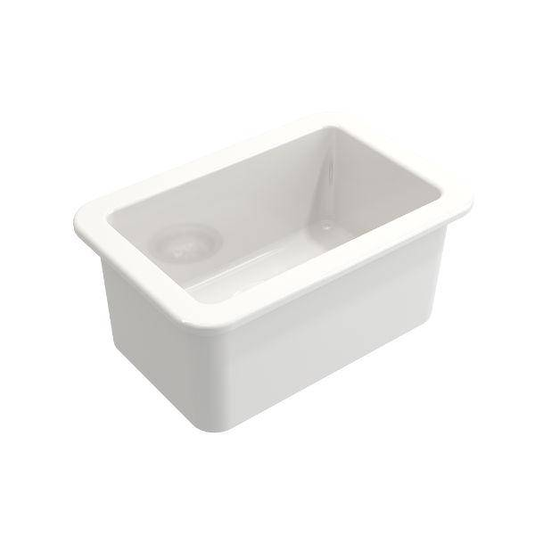 "Bocchi Sotto 12"" White Fireclay Single Bowl Undermount Prep Sink-Annie & Oak"