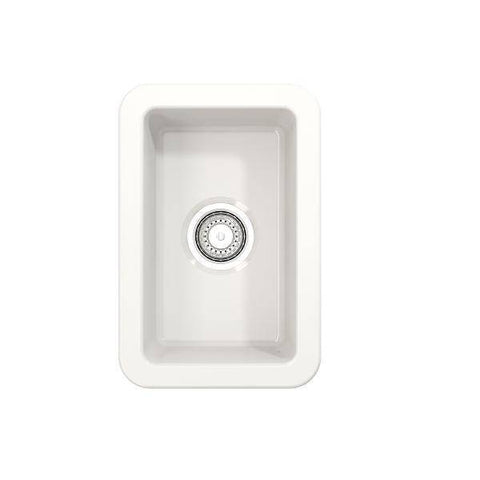 "Image of Bocchi Sotto 12"" White Fireclay Single Bowl Undermount Prep Sink - Annie & Oak"