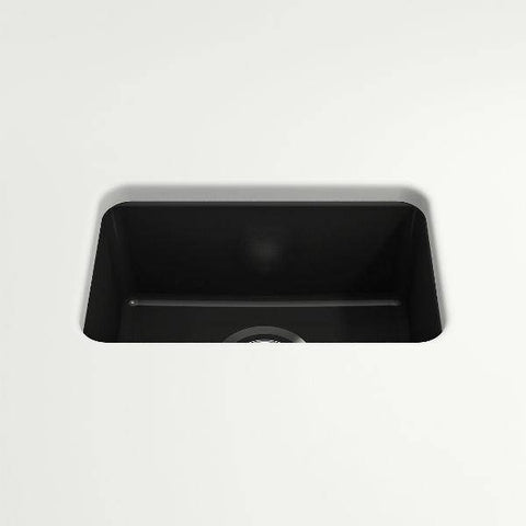 "Bocchi Sotto 12"" Matte Black Fireclay Single Bowl Undermount Prep Sink-Annie & Oak"