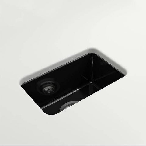 "Bocchi Sotto 12"" Black Fireclay Single Bowl Undermount Prep Sink w/ Strainer-Annie & Oak"