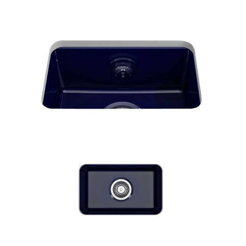 "Bocchi Sotto 12"" Blue Fireclay Single Bowl Undermount Prep Sink w/ Strainer-Annie & Oak"