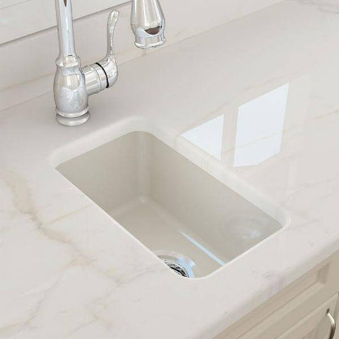 "Bocchi Sotto 12"" Biscuit Fireclay Single Bowl Undermount Prep Sink w/ Strainer-Annie & Oak"