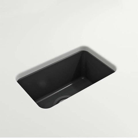 "Bocchi Sotto 12"" Dark Gray Fireclay Single Bowl Undermount Prep Sink w/ Strainer-Annie & Oak"