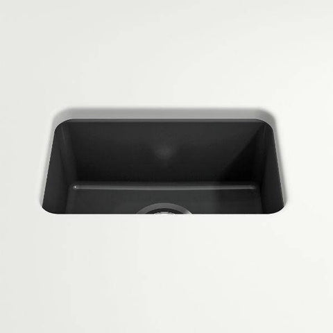"Image of Bocchi Sotto 12"" Dark Gray Fireclay Single Bowl Undermount Prep Sink w/ Strainer - Annie & Oak"