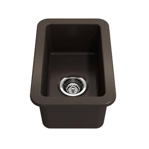 "Bocchi Sotto 12"" Brown Fireclay Single Bowl Undermount Prep Sink w/ Strainer-Annie & Oak"
