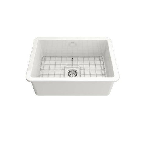 Bocchi Sotto 27 Undermount Fireclay Kitchen Sink Single w/ Grid-Annie & Oak