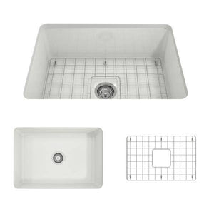 Bocchi Sotto 27 White Fireclay Single Undermount Kitchen Sink  w/ Grid