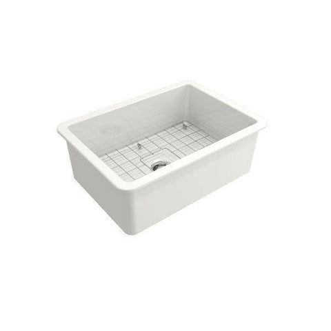 Image of Bocchi Sotto 27 Undermount Fireclay Kitchen Sink Single w/ Grid-Annie & Oak