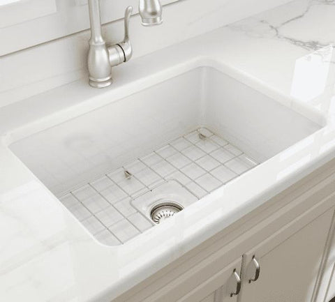 Bocchi Sotto 27 White Fireclay Single Undermount Kitchen Sink  w/ Grid - Annie & Oak
