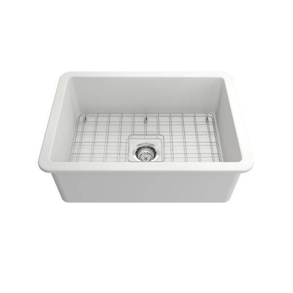 Bocchi Sotto 27 Matte White Fireclay Single Undermount Kitchen Sink  w/ Grid - Annie & Oak