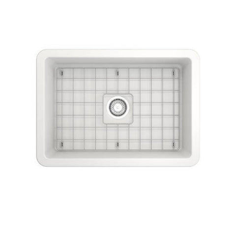 Bocchi Sotto 27 Matte White Fireclay Single Undermount Kitchen Sink w/ Grid-Annie & Oak