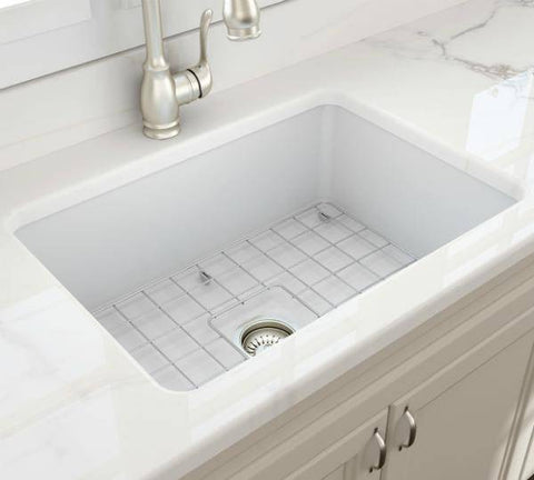 Image of Bocchi Sotto 27 Matte White Fireclay Single Undermount Kitchen Sink w/ Grid-Annie & Oak