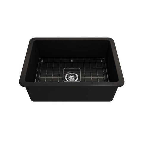 Bocchi Sotto 27 Matte Black Fireclay Single Undermount Kitchen Sink  w/ Grid - Annie & Oak