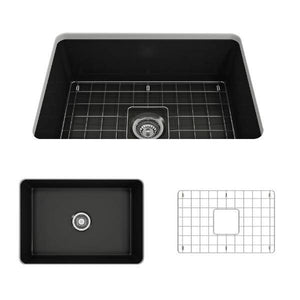Bocchi Sotto 27 Matte Black Fireclay Single Undermount Kitchen Sink  w/ Grid