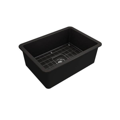 Bocchi Sotto 27 Matte Black Fireclay Single Undermount Kitchen Sink w/ Grid-Annie & Oak