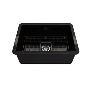 Bocchi Sotto 27 Black Fireclay Single Undermount Kitchen Sink  w/ Grid - Annie & Oak