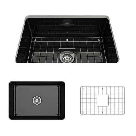 Bocchi Sotto 27 Black Fireclay Single Undermount Kitchen Sink w/ Grid-Annie & Oak