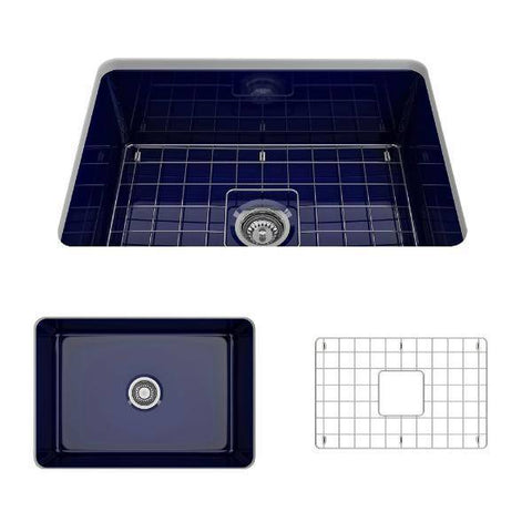 Bocchi Sotto 27 Blue Fireclay Single Undermount Kitchen Sink w/ Grid-Annie & Oak