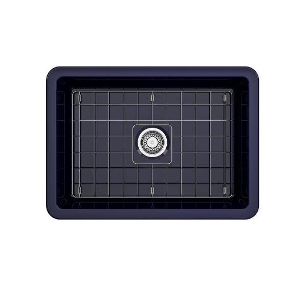 Bocchi Sotto 27 Blue Fireclay Single Undermount Kitchen Sink  w/ Grid - Annie & Oak