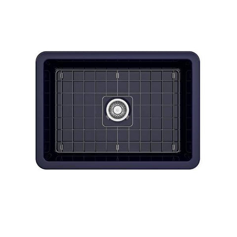Image of Bocchi Sotto 27 Blue Fireclay Single Undermount Kitchen Sink  w/ Grid - Annie & Oak