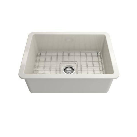 Bocchi Sotto 27 Biscuit Fireclay Single Undermount Kitchen Sink w/ Grid-Annie & Oak