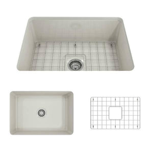 Bocchi Sotto 27 Biscuit Fireclay Single Undermount Kitchen Sink  w/ Grid