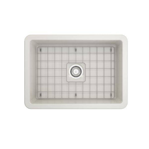 Bocchi Sotto 27 Biscuit Fireclay Single Undermount Kitchen Sink  w/ Grid - Annie & Oak