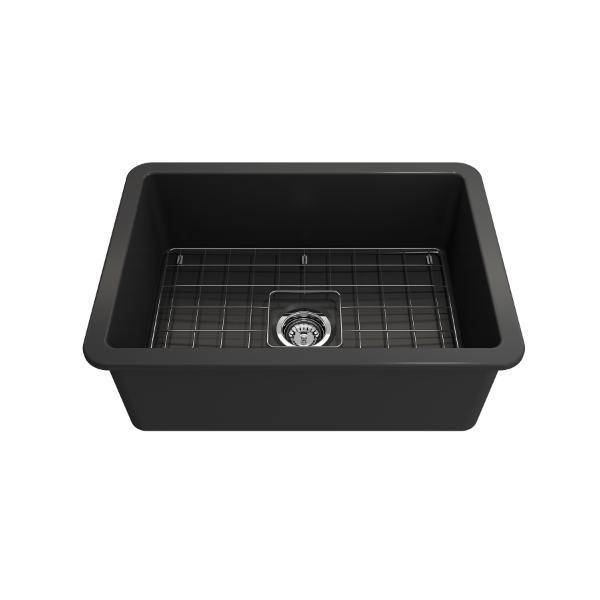 Bocchi Sotto 27 Dark Gray Fireclay Single Undermount Kitchen Sink  w/ Grid - Annie & Oak