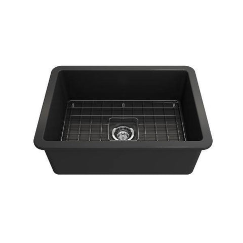 Bocchi Sotto 27 Dark Gray Fireclay Single Undermount Kitchen Sink w/ Grid-Annie & Oak