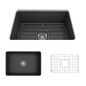 Bocchi Sotto 27 Dark Gray Fireclay Single Undermount Kitchen Sink  w/ Grid