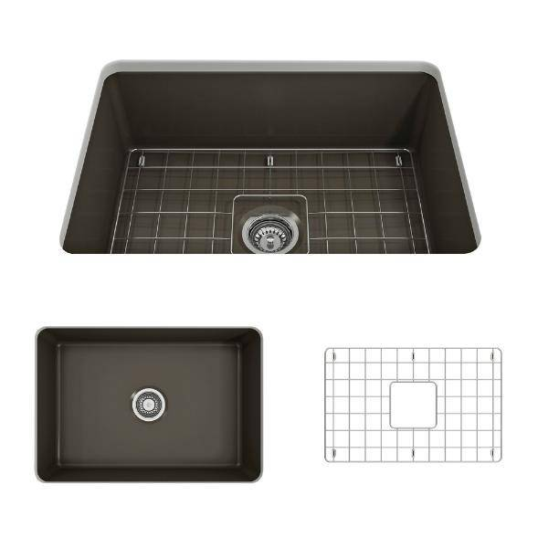 Bocchi Sotto 27 Brown Fireclay Single Undermount Kitchen Sink w/ Grid-Annie & Oak