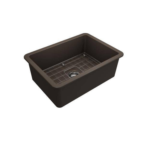 Image of Bocchi Sotto 27 Brown Fireclay Single Undermount Kitchen Sink w/ Grid-Annie & Oak
