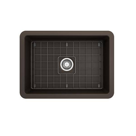 Image of Bocchi Sotto 27 Brown Fireclay Single Undermount Kitchen Sink  w/ Grid - Annie & Oak