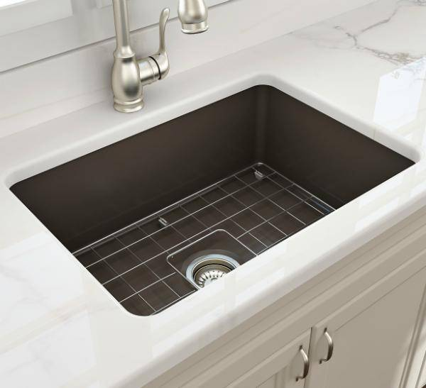 Bocchi Sotto 27 Brown Fireclay Single Undermount Kitchen Sink  w/ Grid - Annie & Oak