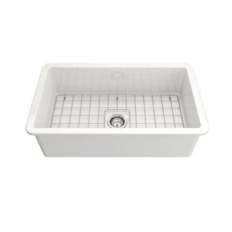Image of Bocchi Sotto 32 white Fireclay Undermount Kitchen Sink Single front view not installed