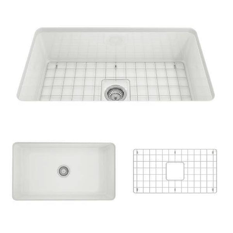 Image of Bocchi Sotto 32 Fireclay Undermount Kitchen Sink white with grid separate front view not installed