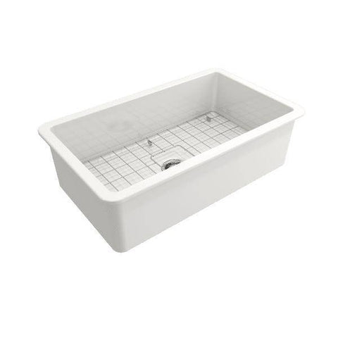 Image of Bocchi Sotto 32 white Fireclay Undermount Kitchen Sink Single Bowl side view with grid uninstalled