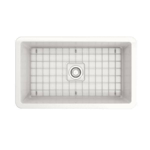 Bocchi Sotto 32 Fireclay Undermount Kitchen Sink top view with grid