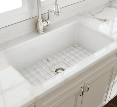 Image of Bocchi Sotto 32 Undermount Fireclay Kitchen Sink Free Grid - Annie & Oak