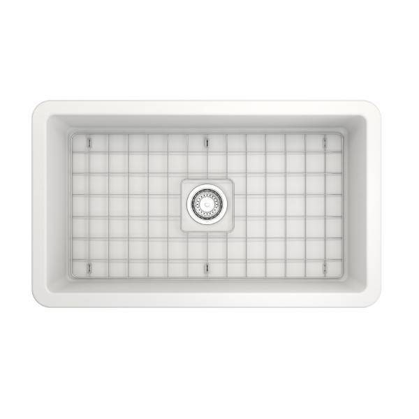 Bocchi Sotto 32 Matte White Fireclay Single Bowl Undermount Kitchen Sink w/Grid - Annie & Oak